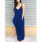 Adorável Lazer V Pescoço Azul Marinho Combinando Vestido De Comprimento Do Chão
