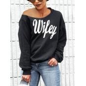 Ropas De Moda De Rocío Letras Impresas Mezclas De Algodón Negro Pullovers