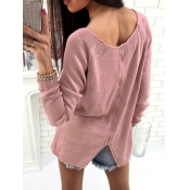 Leisure Round Neck Zipper Design Pink Acrylic Swea