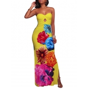 Trendy Dew Shoulder Floral Print Yellow Polyester Sheath Ankle Length Dress