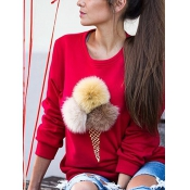 Leisure Round Neck Maomao Ball Decorative Red Cotton Blends Pullovers
