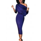 Trendy Dew Shoulder Dark Blue Polyester Sheath Mid Calf Dress
