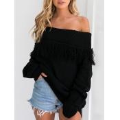Trendy Dew Shoulder Long Sleeves Black Cotton Blen