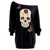 Casual Dew Shoulder Skull Print Black Cotton Tops