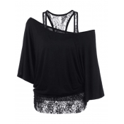Trendy Dew Shoulder Lace Combination Black Cotton