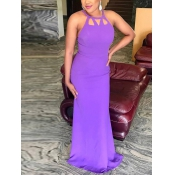 Sexy cuello redondo ahuecado-púrpura púrpura piso vestido de longitud