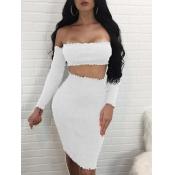 Sexy Dew hombro blanco mezcla de algodón conjunto de falda de dos piezas