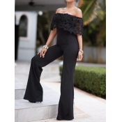 Stylish Dew Shoulder Falbala Design Black Polyester One-piece Jumpsuits
