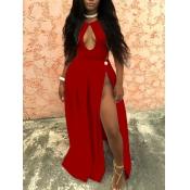Sexy Hollow-out High Split Red Blending Floor length Dress