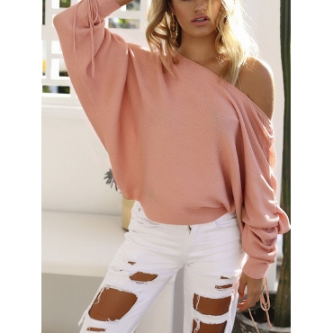 Cotton O neck Long Sleeve Regular Pullovers Sweaters & Cardigans