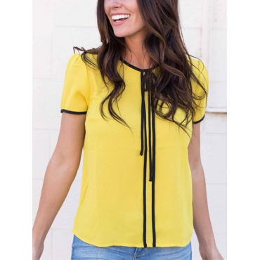 Euramerican Round Neck Short Sleeves Patchwork Yellow Polyester Shirts