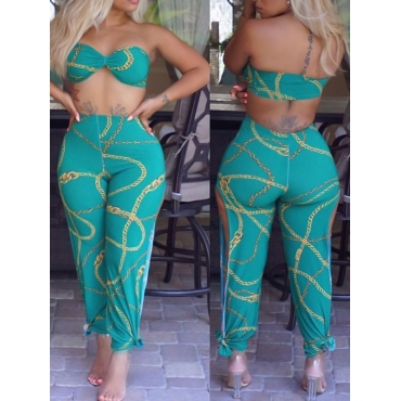 Sexy Dew Shoulder Printed Green Polyester Two-piece Pants Set