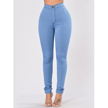 Trendy High Waist Skyblue Denim Pants