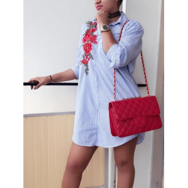 Fashion Turndown Collar  Long Sleeves Embroidered Design Blue Cotton Blend Mini Dress