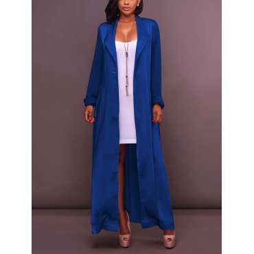 Stylish Turndown Collar Long Sleeves Blue Chiffon Long Coat