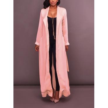 Stylish Turndown Collar Long Sleeves Pink Chiffon Long Coat