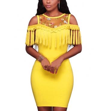 Sexy Round Neck Dew Shoulder Tassel Design Yellow Polyester Mini Dress