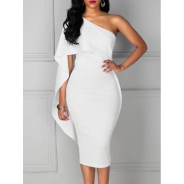 Trendy One Shoulder Asymmetrical White Cotton Blend Sheath Mid Calf Dress