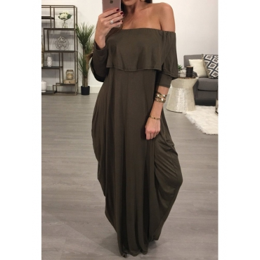 Fashion Dew Shoulder Falbala Design Grey-green Cotton Blend Ankle Length Dress