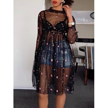 Sexy Round Neck Long Sleeves See-Through Black Polyester Knee Length Dress