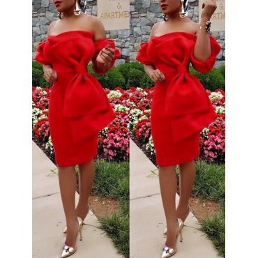 Stylish Dew Shoulder Bow-tie Decoration Red Polyester Knee Length Dress