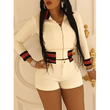 Trendy Turndown Collar Long Sleeves Zipper Design White Polyester Two-piece Shorts Set