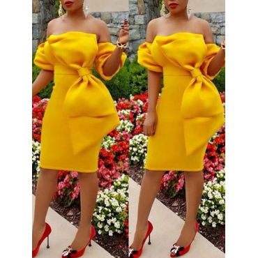 Trendy Dew Shoulder Bow-tie Decoration Yellow Polyester Knee Length Dress