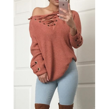 Leisure V Neck Long Sleeves Drill Red Acrylic Sweaters