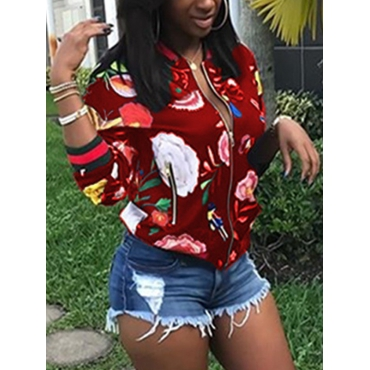 Trendy Round Neck Long Sleeves Printed Red Polyester Short Coat