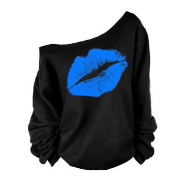 Lovely Leisure Dew Shoulder Lip Printing Blue Blending Sweatshirt Hoodie