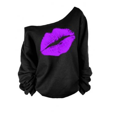 Досуг Роса Плечо Губы Печать Пурпурные Смешивания Пуловеры