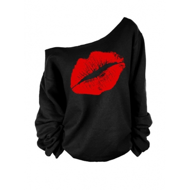 Lovely Leisure Dew Shoulder Lip Printing Red Sweatshirt Hoodie