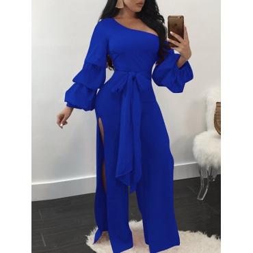 Trendy Dew Shoulder Side Split Blue Polyester One-piece Jumpsuits