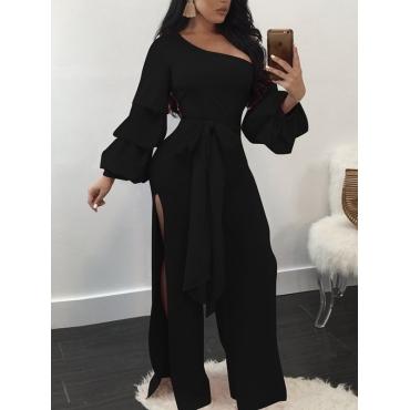 Trendy Dew Shoulder Side Split Black Polyester One-piece Jumpsuits