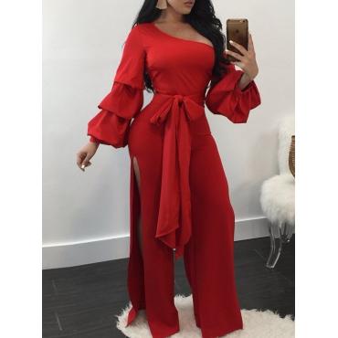 Trendy Dew Shoulder Side Split Red Polyester One-piece Jumpsuits