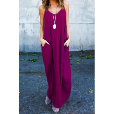 Casual V Neck Cotton Blend Purple-Red Cotton Blend Ankle Length Dress(Without Accessories)