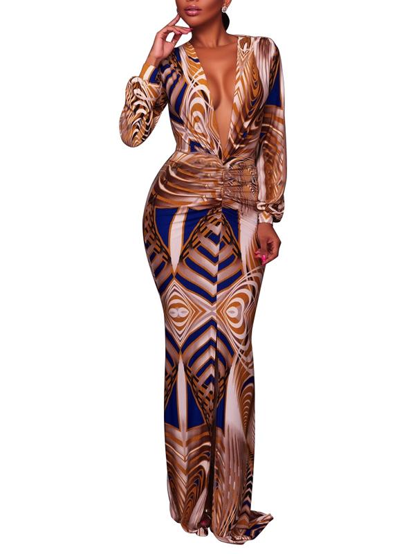 Vestido De Noche Largo Sexy Con Cuello En V Amarillo Saludable Tejido De La Envoltura De La Longitud Del Tobillo