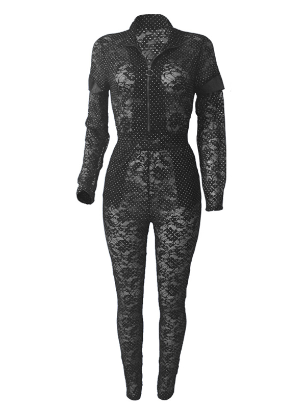 Sexy See-Through  Black Bud Silk One-piece Jumpsuits