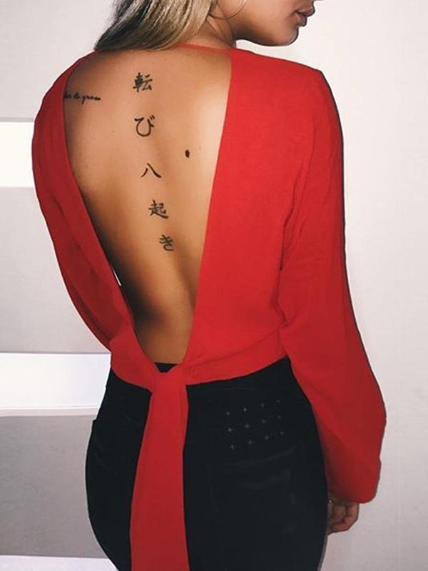 Сексуальные V Шеи Длинные Рукава Красные Шифон Рубашки