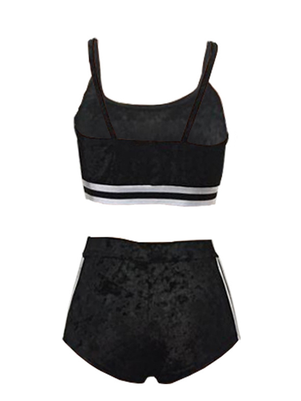 Lovely Sexy U-shaped Neck Patchwork Black Velvet Two-piece Shorts Set