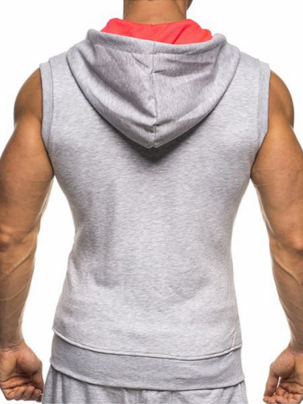 Leisure Hooded collar Light Grey Cotton Waistcoat for men