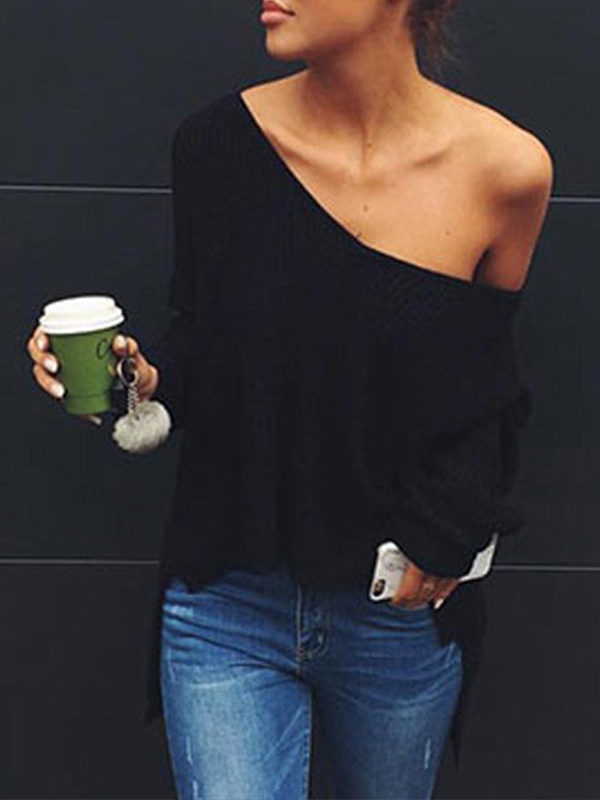 Trendy V Neck Long Sleeves Asymmetrical Black Cotton Blends Sweaters