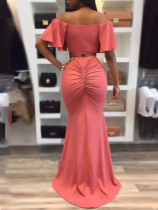 Sexy Drape Design Red Polyester Two Piece Skirt Set