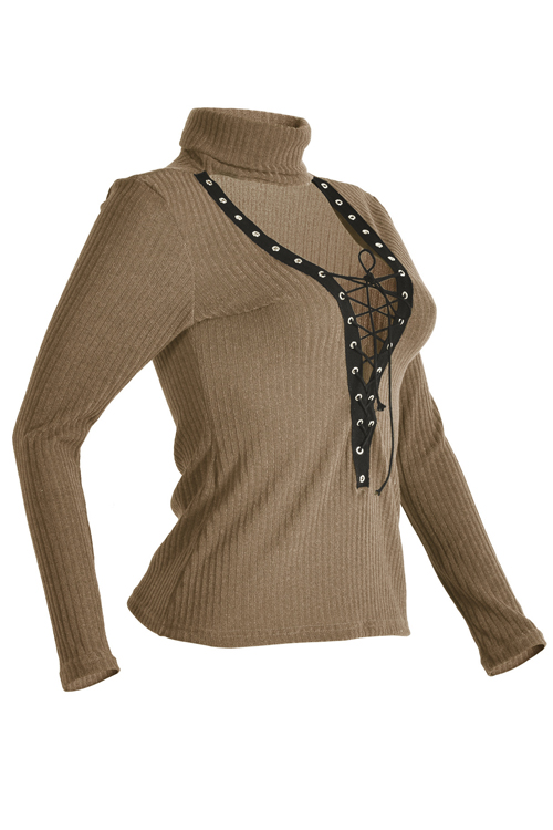 Sexy Deep V Neck Hollow-out Khaki Knitting Sweaters