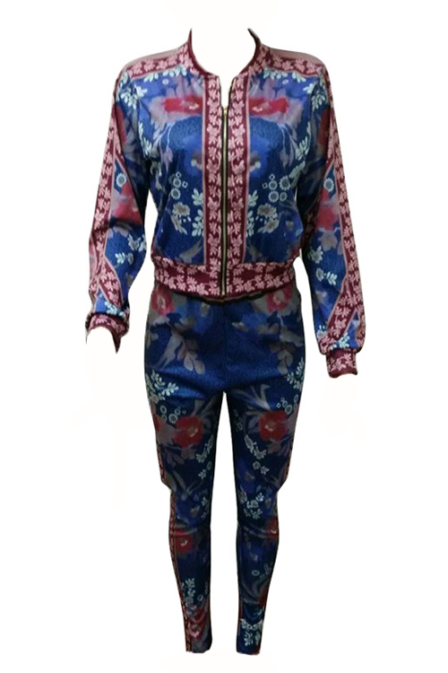 Euramerican V Neck Printed Polyester Two-piece Pants Set