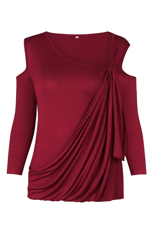 Sexy dew shoulder long sleeves hollow out wine red cotton for Red wine out of white shirt