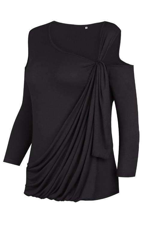Manches longues à manches longues-Out Black Black Blends Shirts