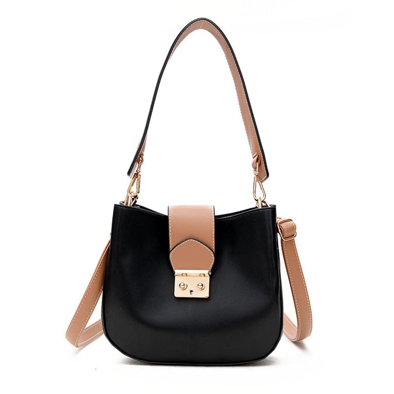 Fashion Buckle Design Black PU Shoulder Bags