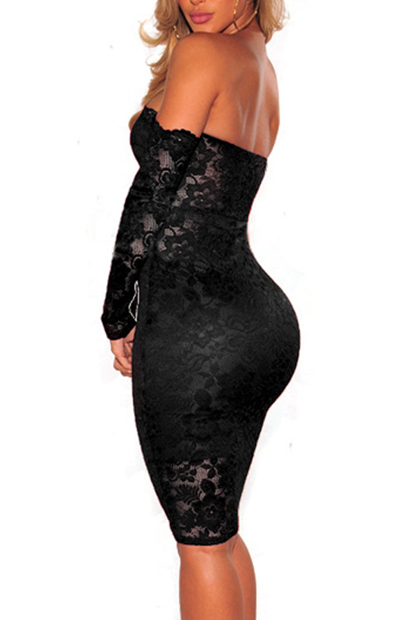 Sexy Dew Shoulder Black Lace Sheath Knee Length Dress