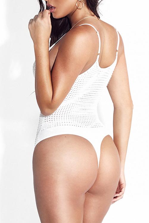 Collare sexy V Neck-fuori Cotone Bianco Uno-piece Sciarpe sottili